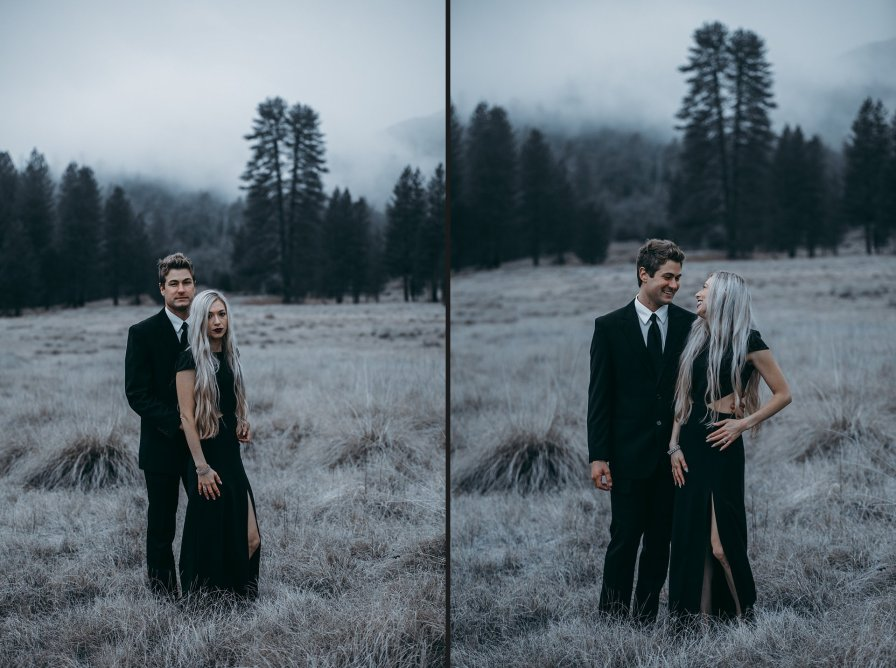 couples having their engagement photos taken