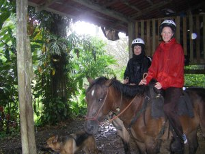 Before Panama, a fun (wet) horse ride through Selva Bananito's scenic grounds
