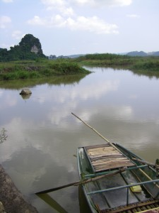 The boat waits to take us to the underground river caves.