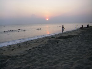 Rainy season sunrise on Cua Dai Beach