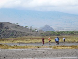 Lake Natron nature walk, with Ol Doinyo Lengai in background