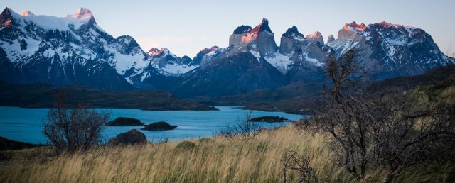 Sweeping vistas at sunrise from Explora Patagonia Lodge
