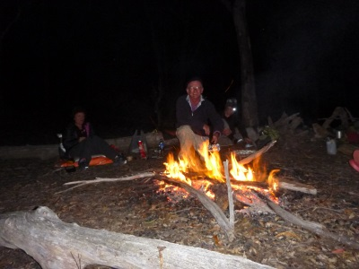 Campfire that night, heaps of wood on the ground!