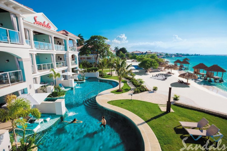Swim-up suite at the all inclusive Sandals Montego Bay resort in Jamaica