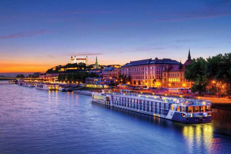 Evening sailing onboard an Amawaterways river cruise ship through Europe