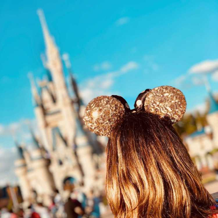 At Walt Disney World's Magic Kingdom gazing at Cinderella's castle in your favorite pair of mouse ears