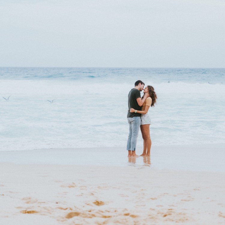 Romantic moment on a beach vacation