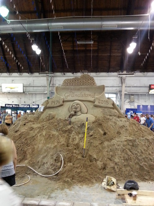 One side of the sand sculpture in the Center of Progress Building