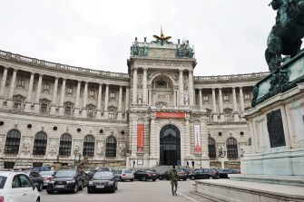 This the National Library of Austria, which has a very long history. It was constructed from 1723 - 1726 and designed by Joseph Emanual Fischer von Erlach. The library has an extensive collection and a number of museums within its walls. Looking at it, one can see that is is elaborate and has the sculpted quality to it.