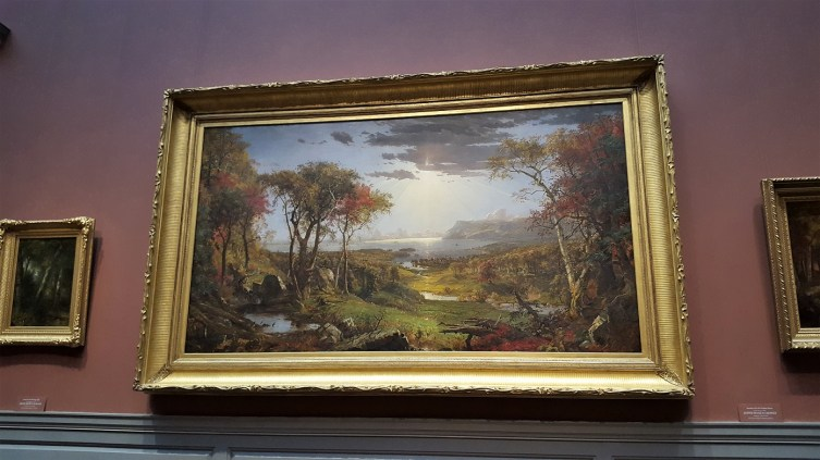 This beautiful painting is by Jasper Francis Cropsey. It dates to c. 1860. If you go to the National Gallery of Art's website, you can search for this painting and can zoom in to get a better view of the artwork. The same can be done on the other paintings I've shared too.