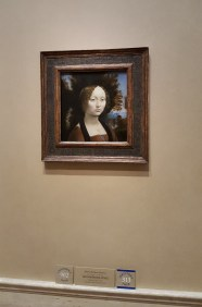 This painting is by Leonardo da Vinci, painted c. 1474/1478. It is one of the highlights of the Gallery.
