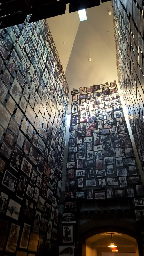 This is the Tower of Faces, that consists of photographs that were collected by Yaffa Eliach. Yaffa was a survivor of the Holocaust and these photos are from the town she grew up in, Eisiskes (another spelling I found, Ejszyszki). In 1941 almost the entire Jewish population of the town and the surrounding area were murdered. About 500 people of 4,000 escaped and of those 500, only 29 survived the Holocaust.