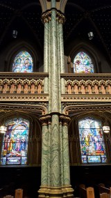The first stained glass windows were installed in 1879. Other stained glass windows were installed in the 1950's by Guido Nincheri of Montreal. These are some of those windows installed in the 1950's.