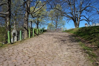 This cobble stone road is near the North Gate Entrance of the cemetery.