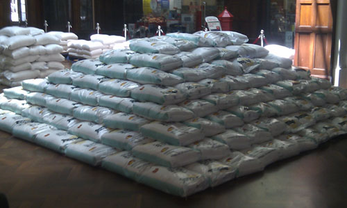 Pyramid of rice sacks