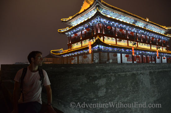 Tony on Xian city walls at night