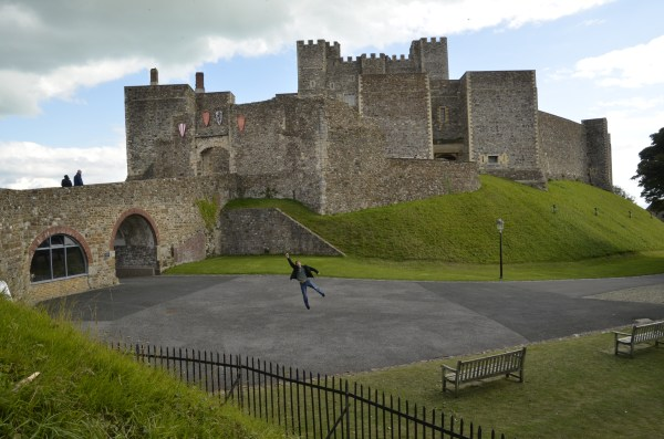 Tony doing the Superman at a deserted Dover Castle
