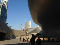 Dongdaemun Design Plaza - right as you surface from the subway station.