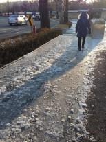 Icy sidewalks leading to Changgyeonggung Palace.