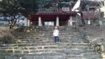 On the steps leading to the buddhist temple.