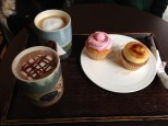 Hot cocoa, coffee, raspberry and creme brulee cupcakes. Love the presentation.