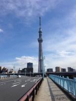 Crossing the bridge toward the Tokyo Skytree.