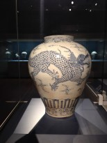 White Porcelain Jar with Cloud and Dragon Design in Underglaze Cobalt Blue - Joseon Dynasty (18th-Late 19th century)
