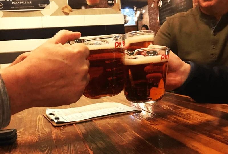 Beer in Pyrex Measuring Cups in Cheong-Ju, South Korea