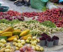 Fruits and vegetables at the Otavalo market in Ecuador's Andean Highlands