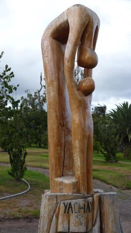 Sculpture from Ibarra woodworkers at Yachay's City of Knowledge Tech University in the Ecuador Andean Highlands