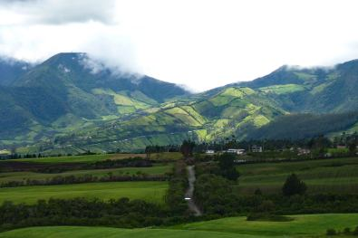 Patchwork farming on Ecuador mountainside in Ecuador Andean Highlands