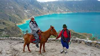 Wendy riding up the Quilotoa Lake trail