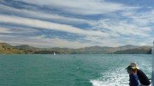 Akaroa New Zealand Harbour and cloudy sky