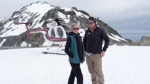 Wendy and Fox & Franz Heliservices pilot on Franz Josef glacier