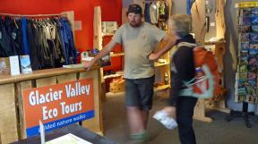 Guide from Glacier Valley Eco Tours discussing hike with Wendy