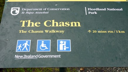 Sign for The Chasm, a narrow ravine of the Cleddau River