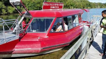Huka Falls River Cruise boat at dock