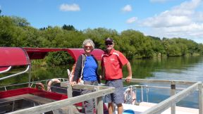 Huka Falls River Cruise boat Captain Dave with Wendy