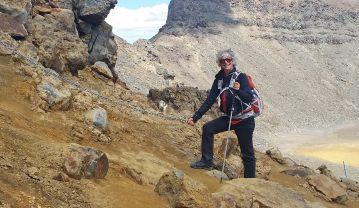 Tongariro Alpine Crossing - chain railing to assist hikers
