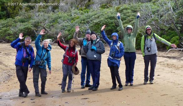 Ruggedy Range tour group at completion of day long tour of Ulva Island