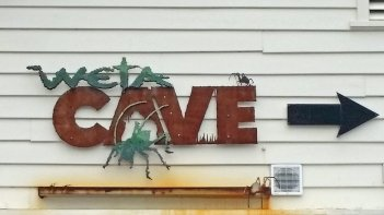 Weta Cave outdoor building sign