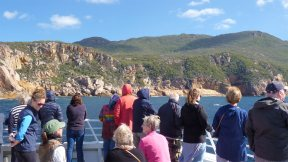 Wineglass Bay Cruises guests viewing the granite shoreline