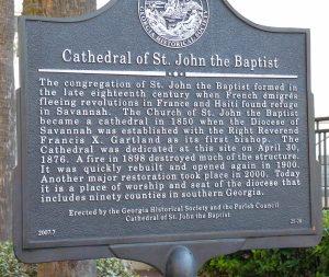 Savannah GA - St John the Baptist Cathedral sign