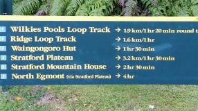 Taranaki's Egmont National Park walking trails sign
