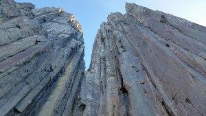 Tasman Island towering rock cliffs from Pennicott Wilderness Journey boat tour