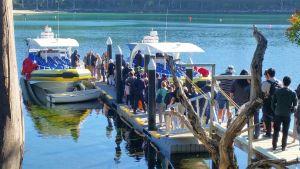 Tasman Island's Port Arthur - boarding for Pennicott Wilderness Journey tour