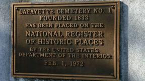 Lafayette Cemetery - National Register plaque