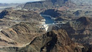 Hoover Dam and four-lane Hoover Dam Bypass Bridge