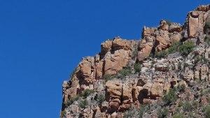 Rock frog-like formations overlooking railway