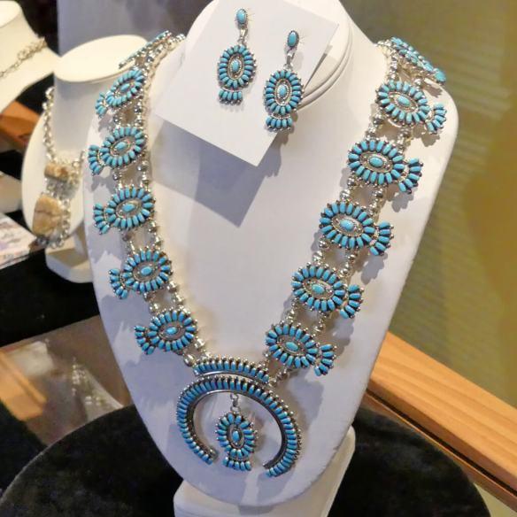 Beautiful needlepoint jewelry by Zuni Eldrick and Charlotte Seoutewa